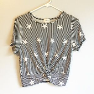 Anthropologie Gaze Striped Knot Front Stars Top